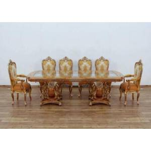 European Furniture Saint Germain Collection 11 Pieces Set with 1 Dining Table + 2 Arm Chair + 8 Side Chair  in Parisian Brown Light Gold and Antique