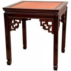 """Oriental Furniture ST-PA106-2 20"""" Ming End Table with Solid Rosewood Construction  Floating Panel Top and Hand Carved Key Leg Supports in Honey and Cherry Stain"""