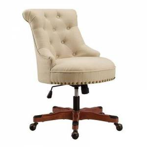 Linon OC077RIC01 Sinclair Collection Office Chair with Cherry Wood Base Pine Wood Frame and Polyester Upholstery in Beige