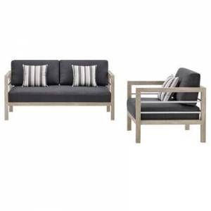 Modway Wiscasset Collection EEI-3763-LGR-STE-SET  Outdoor Patio Acacia Wood Loveseat and Armchair Set with FSC Certified Acacia Wood  Brushed Aluminum