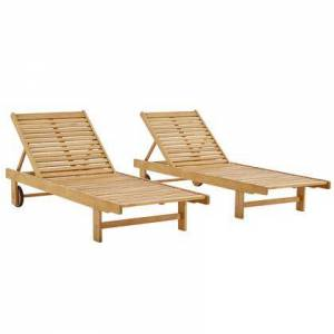 Modway Hatteras Collection EEI-3967-NAT Outdoor Patio Eucalyptus Wood Chaise Lounge Set of 2 with FSC Certified Eucalyptus Wood  Forward-Backward Rolling