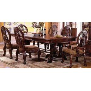 Furniture of America Tuscany I Collection CM3845PCHTSCAC7PC 7-Piece Dining Room Sets with Rectangular Dining Table  2x Brown Dining Arm Chairs and 4x Brown Dining Side
