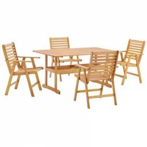 Modway Hatteras Collection EEI-3754-NAT-SET 5 Piece Outdoor Patio Eucalyptus Wood Dining Set with FSC Certified Eucalyptus Wood  Slatted Wood Top and Seat