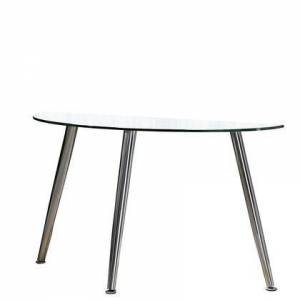 Benzara BM208092 Contemporary Half Moon Glass Top Sofa Table with Tapered Metal Legs