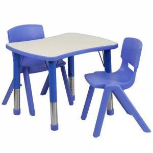 Flash Furniture Yuycy Collection YU-YCY-098-0032-RECT-TBL-BLUE-GG 3 Piece Kids Table Set with 2 Stack Chairs  Rectangle Bowtie Table Top  Height Adjustable Steel