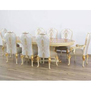 European Furniture Bellagio Collection Luxury Set 9 Pieces with 1 Dining Table + 2 Arm Chair + 6 Side Chair  in Beige and Gold