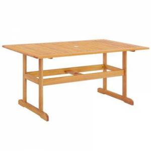 """Modway Hatteras Collection EEI-3675-NAT 59"""" Rectangle Outdoor Patio Eucalyptus Wood Dining Table with FSC Certified Eucalyptus Wood  Slatted Wood Top and"""