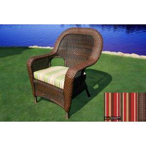 Tortuga Sea Pines Collection LEX-DC-J-MONS Dining Chair in Java Wicker and Monserrat Sangria Fabric