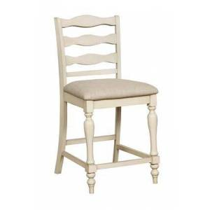 Benzara BM183114 Ladder Back Wooden Counter Height Chair with Fabric Seat  Pack of Two  Antique White and
