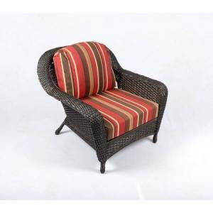 Tortuga Sea Pines Collection LEX-C1-T-MONS Club Chair in Tortoise Wicker and Monserrat Sangria Fabric