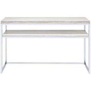"""Acme Furniture Snyder Collection 84629 48"""" Sofa Table with Wooden Top  Bottom Shelf  Industrial Style  Rectangular Shape and Metal Sled Base in Chrome"""