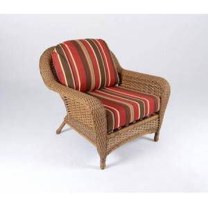 Tortuga Sea Pines Collection LEX-C1-M-MONS Club Chair in Mojave Wicker and Monserrat Sangria Fabric