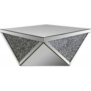 """Acme Furniture Noralie Collection 82770 38"""" Coffee Table with 5mm Beveled Edge Clear Glass Top  Faux Diamonds Inlay  Drum Shape  Glam Style and Geometric Triangular"""