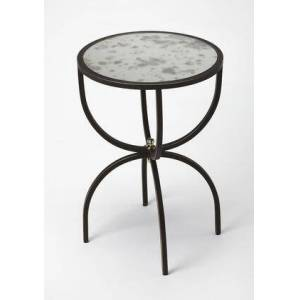 Butler Elon Collection 3945025 Side Table with Transitional Style  Round Shape  Medium Density Fiberboard (MDF) and Aluminum Material in Metalworks