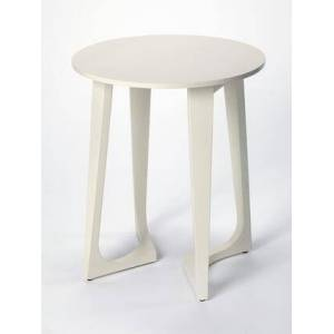 Butler Devin Collection 2040288 Accent Table with Modern Style  Round Shape and Solid Wood in White