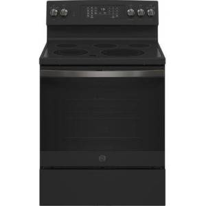 """GE JB735FPDS 30"""" Black Slate Electric Range with 5 Elements  5.3 cu. ft. Capacity  Storage Drawer and Self-Clean with Steam Clean"""