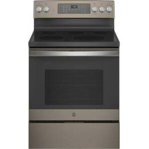 """GE JB735EPES 30"""" Slate Electric Range with 5 Elements  5.3 cu. ft. Capacity  Storage Drawer and Self-Clean with Steam Clean"""