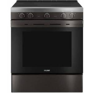 """HAIER QSS740BNTS 30"""" Smart Freestanding Electric Range with 4 Radiant Elements  5.7 cu. ft. Capacity  WiFi Connection and Hidden Bake Element in Black"""