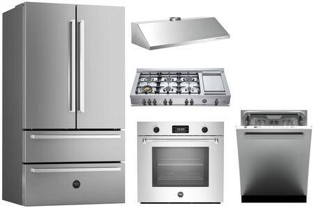 """Bertazzoni 5 Piece Kitchen Appliances Package with 36"""" French Door Refrigerator  30"""" Electric Single Wall Oven  48"""" Gas Rangetop  48"""" Wall Mount Hood  24"""" Built"""