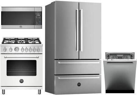 """Bertazzoni 4 Piece Kitchen Appliances Package with REF36X 36"""" French Door Refrigerator  MAST305DFMBIE 30"""" Dual Fuel Range (Matte White)  KOTR30MXE 30"""" Over the"""