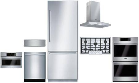 """Bosch 7 Piece Kitchen Appliances Package with 30"""" Bottom Freezer Refrigerator  30"""" Electric Double Wall Oven  36"""" Gas Cooktop  36"""" Hood  30"""" Built in"""