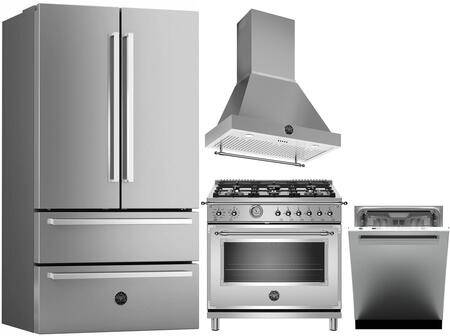 """Bertazzoni 4 Piece Kitchen Appliances Package with REF36X 36"""" French Door Refrigerator  HERT366GASXT 36"""" Gas Range  K36HERTX 36"""" Hood with Canopy and DW24XV 24"""""""