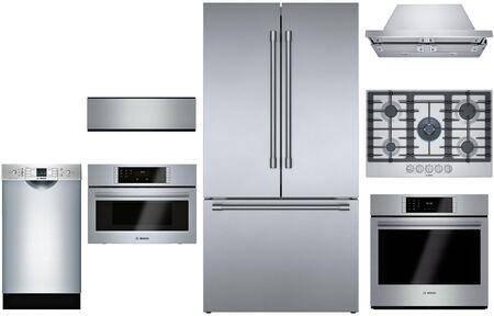 """Bosch 7 Piece Kitchen Appliances Package with 36"""" French Door Refrigerator  30"""" Electric Single Wall Oven  30"""" Gas Cooktop  30"""" Hood 27"""" Built In Microwave"""