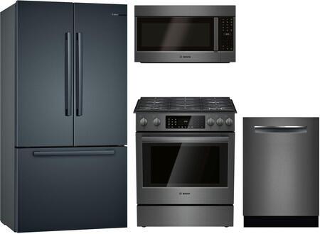 """Bosch 4 Piece Kitchen Appliances Package with B36CT80SNB 36"""" French Door Refrigerator  HGI8046UC 30"""" Slide-in Gas Range  HMV8044U 30"""" Over the Range"""