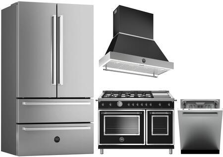 "Bertazzoni 4 Piece Kitchen Appliances Package with REF36X 36"" French Door Refrigerator  HERT486GGASNET 48"" Gas Range  K48HERTX 48"" Hood with Canopy and DW24XT"