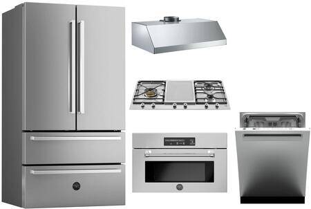 """Bertazzoni 5 Piece Kitchen Appliances Package with 36"""" French Door Refrigerator  MAST30SOEX 30"""" Electric Single Wall Oven  36"""" Gas Cooktop  36"""" Wall Mount Hood"""