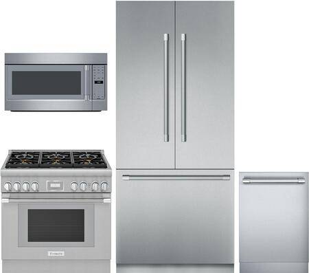 """Thermador 4 Piece Wi-Fi Connected Kitchen Appliances Package with T36IT901NP 36"""" French Door Refrigerator  PRG366WH 36"""" Gas Range  MU30WSU 30"""" Over the Range"""