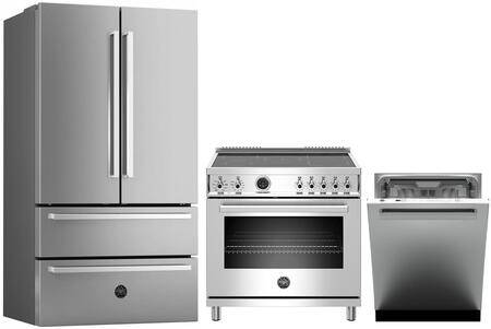 """Bertazzoni 3 Piece Kitchen Appliances Package with REF36X 36"""" French Door Refrigerator  PROF365INSXT 36"""" Electric Induction Range and DW24XV 24"""" Built In Fully"""