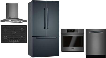 """Bosch 5 Piece Kitchen Appliances Package with 36"""" French Door Refrigerator  30"""" Gas Cooktop  30"""" Single Wall Convection Oven  24"""" Fully Integrated"""