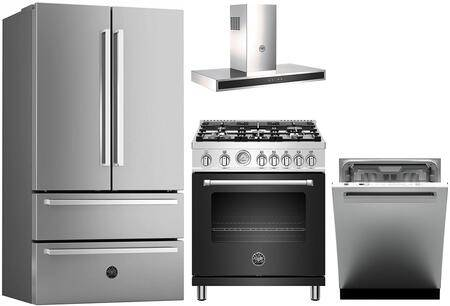 """Bertazzoni 4 Piece Kitchen Appliances Package with REF36X 36"""" French Door Refrigerator  MAST305GASNEE 30"""" Gas Range  KG30X 30"""" Wall Mount Convertible Hood and"""