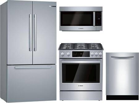 """Bosch 4 Piece Kitchen Appliances Package with B36CT80SNS 36"""" French Door Refrigerator  HGIP056UC 30"""" Gas Range  HMVP053U 30"""" Over the Range Microwave and"""