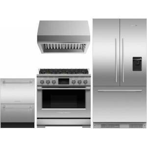 """Fisher & Paykel 4 Piece Kitchen Appliances Package with RS36A72U1N 36"""" French Door Refrigerator  RDV3366L 36"""" Dual Fuel Gas Range  HCB366N 36"""" Wall Mount Ducted Hood"""