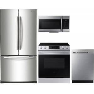 """Samsung 4 Piece Kitchen Appliances Package with RF18HFENBSR 33"""" French Door Refrigerator  NE63T8311SS 30"""" Smart Slide-in Electric Range  ME17R7021ES 30"""" Over"""