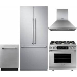 """Dacor 4 Piece Kitchen Appliances Package with 36"""" French Door Refrigerator  Modernist Door Panel  36"""" Dual Fuel Gas Range 36"""" Island Mount Ducted Hood and"""
