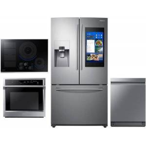 """Samsung 4 Piece Wi-Fi Connected Kitchen Appliances Package with RF265BEAESR 36"""" French Door Refrigerator  NV51K6650SS 30"""" Wall Steam Oven  NZ30K7880US 30"""""""