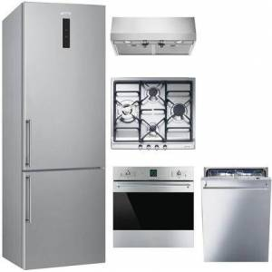 """Smeg 5 Piece Kitchen Appliances Package with 24"""" Bottom Freezer Refrigerator  24"""" Electric Single Wall Oven  24"""" Gas Cooktop  24"""" Pro Style Under Cabinet"""