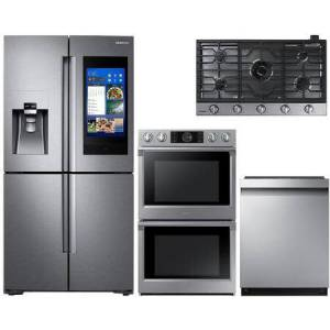 """Samsung 4 Piece Kitchen Appliance Package with RF22N9781SR 36"""" French Door Refrigerator  NV51K7770DS 30"""" Electric Double Wall Steam Oven  NA36N7755TS 36"""" Gas"""