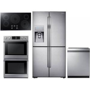 """Samsung 4 Piece Kitchen Appliance Package with RF23J9011SR 36"""" 4 Door French Door Refrigerator  NV51K7770DS 30"""" Electric Double Wall Steam Oven  NZ36K6430RS"""