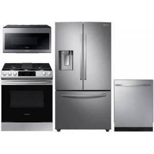 """Samsung 4 Piece Kitchen Appliances Package with RF28R6201SR 36""""  French Door Refrigerator  NX58R9311SS 30"""" Gas Range  ME21M706BAS 30"""" Over The Range"""