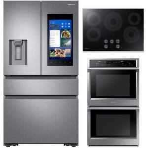 """Samsung 3 Piece Wi-Fi Connected Kitchen Appliances Package with RF23M8570SR 36"""" French Door Refrigerator  NV51K6650DS 30"""" Electric Double Wall Steam Oven and"""