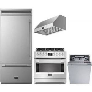 """Fulgor Milano 4 Piece Kitchen Appliances Package with F7PBM36S1L 36"""" Bottom Freezer Counter Depth Refrigerator  F6PGR366S2 36"""" Gas Range  F6PH36DS1 36"""" Wall Mount"""