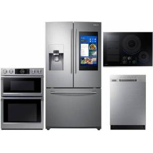 """Samsung 4 Piece Kitchen Appliance Package with RF265BEAESR 36"""" Smart French Door Refrigerator  NQ70M7770DS 30"""" Smart Double Steam Oven/Microwave Combo"""