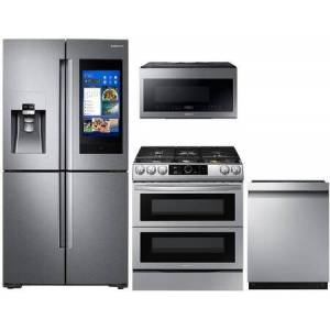 """Samsung 4 Piece kitchen Appliance Package with RF22N9781SR 36"""" French Door Refrigerator  NX60T8751SS 30"""" Smart Slide-in Gas Range  ME21M706BAS 30"""" Microwave"""
