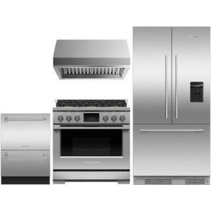 """Fisher & Paykel 4 Piece Kitchen Appliances Package with RS36A72U1N 36"""" French Door Refrigerator  RDV3366L 36"""" Dual Fuel Liquid Propane Range  HCB3612N 36"""" Wall Mount"""