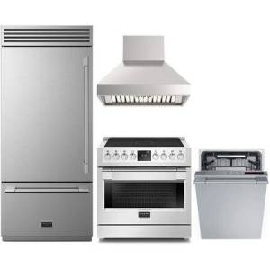 """Fulgor Milano 4 Piece Kitchen Appliances Package with F7PBM36S1L 36"""" Bottom Freezer Refrigerator  F6PIR365S1 36"""" Electric Induction Range  F6PC36DS1 36"""" Pro Style"""