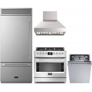 """Fulgor Milano 4 Piece Kitchen Appliances Package with F7PBM36S1L 36"""" Bottom Freezer Refrigerator  F6PGR366S2 36"""" Gas Range  F6PC36DS1 36"""" Pro Style Ducted Hood and"""